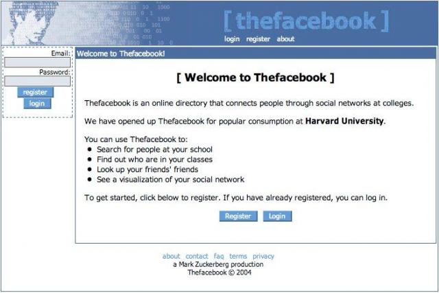 Initial design of The Facebook