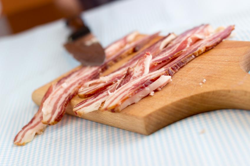 bacon on a cutting board