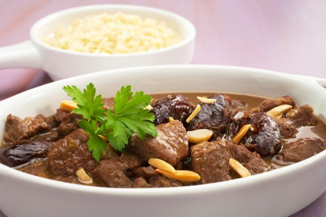 Stew Moroccan Lamb Tagine with Dates and Almonds