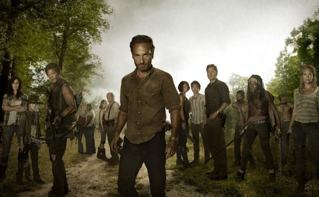 Rick Grimes (Andrew Lincoln) and the rest of the third season main characters of AMC's 'The Walking Dead'