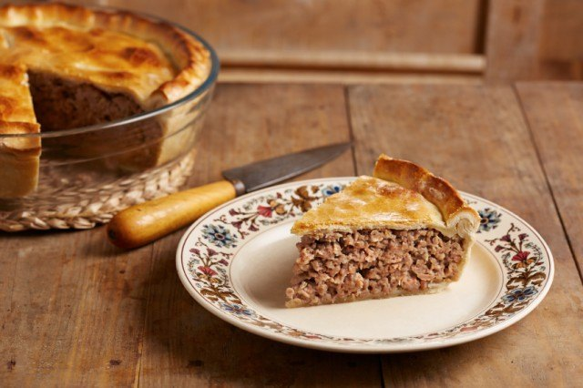 Tourtiere, Traditional meat pie on a dish