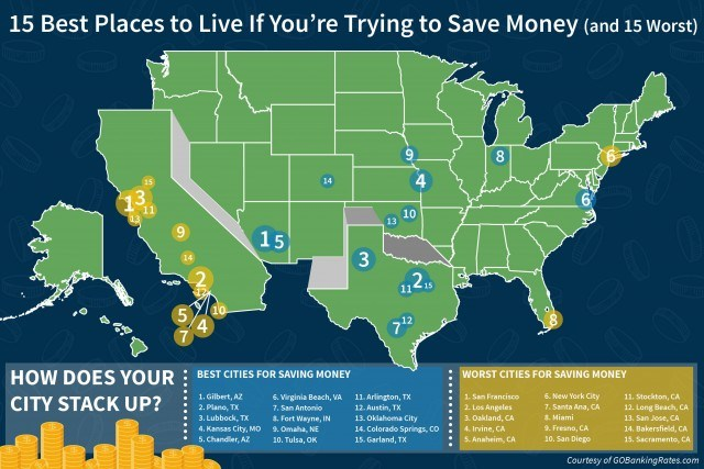 map of the best places to live in you're trying to save money