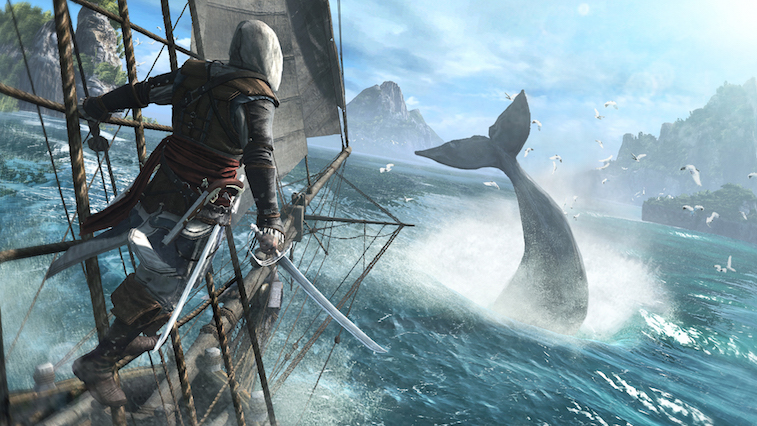 An assassin stands on a boat overlooking a whale.