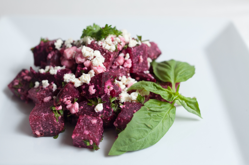 beet salad with basil and feta cheese