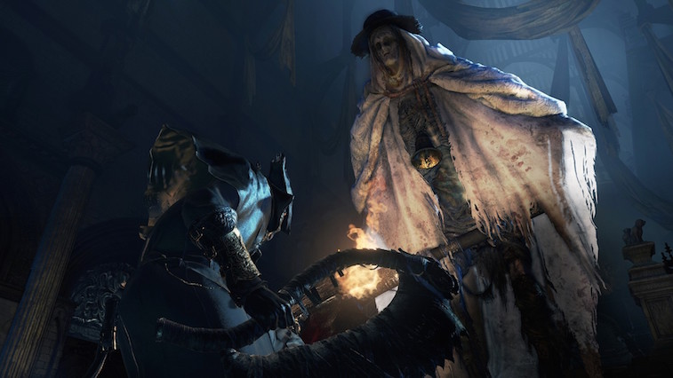 The hero confronts a terrifying boss in Bloodborne.