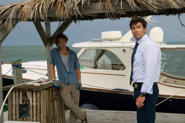 Ben Mendelsohn and Kyle Chandler standing on a dock next to a yacht in 'Bloodline.'