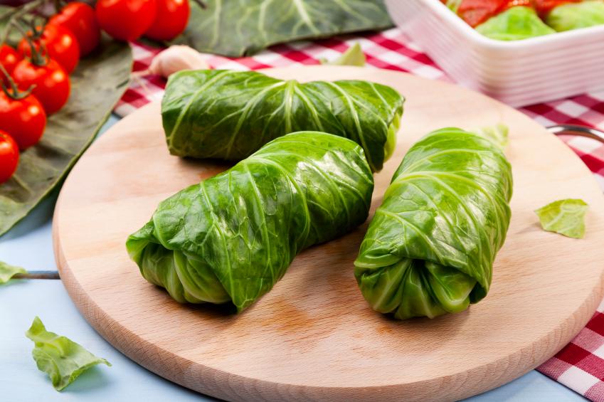 Stuffed cabbage, greens