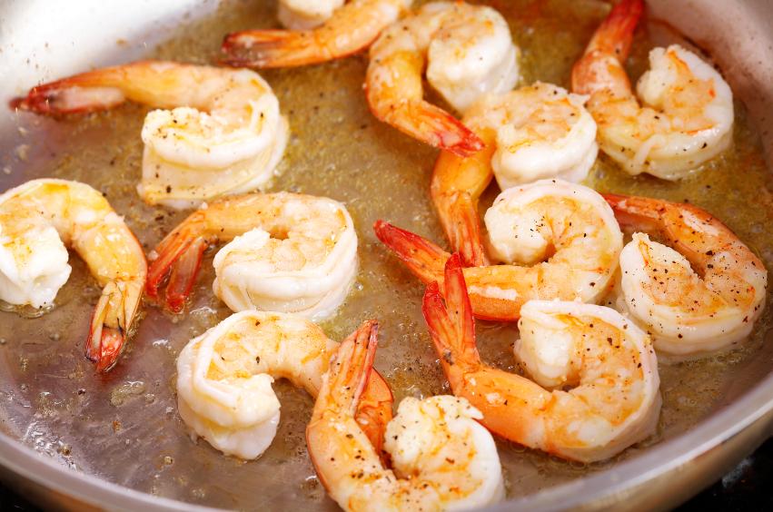 shrimp cooking in pan