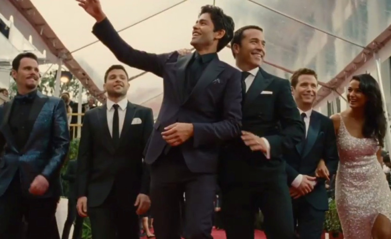 "Kevin Dillon as Johnny ""Drama"" Chase, Jerry Ferrara as Salvatore ""Turtle"" Assante, Adrian Grenier as Vincent Chase, Jeremy Piven as Ari Gold, Kevin Connolly as Eric ""E"" Murphy, and Emmanuelle Chriqui as Sloan in evening wear on the red carpet on Entourage"