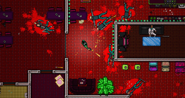A blood-strewn mess viewed from above.