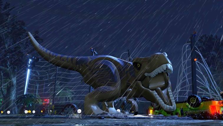 A lego t-rex roars in the rain.