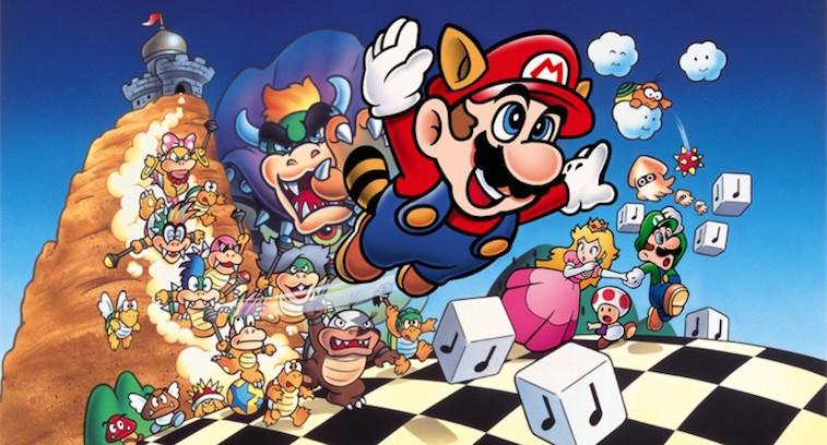 Mario from Mario 3 flying in his raccoon suit.