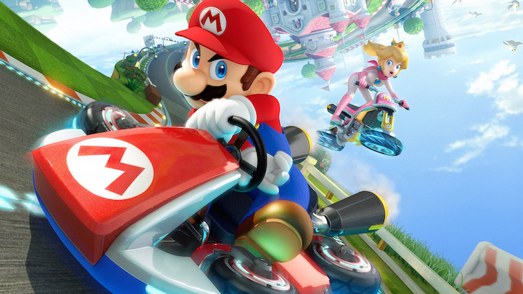 Mario weaves through competitors to win the race in Mario Kart 8.