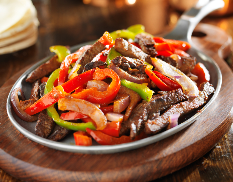 beef fajitas and bell peppers