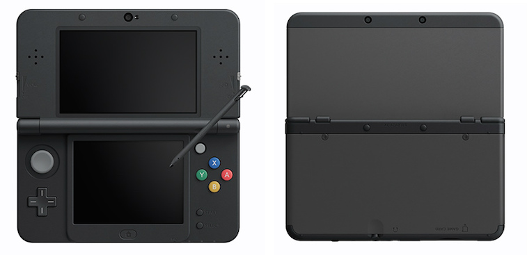 The front and back of a black Nintendo 3DS.