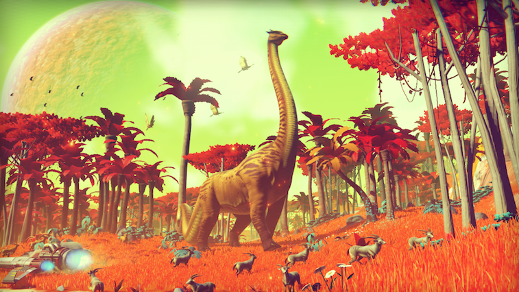 Alien dinosaurs stand on a distant planet in No Man's Sky.