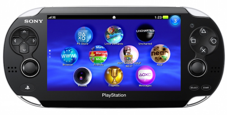 The front of a PS Vita handheld gaming machine, set to the home screen.