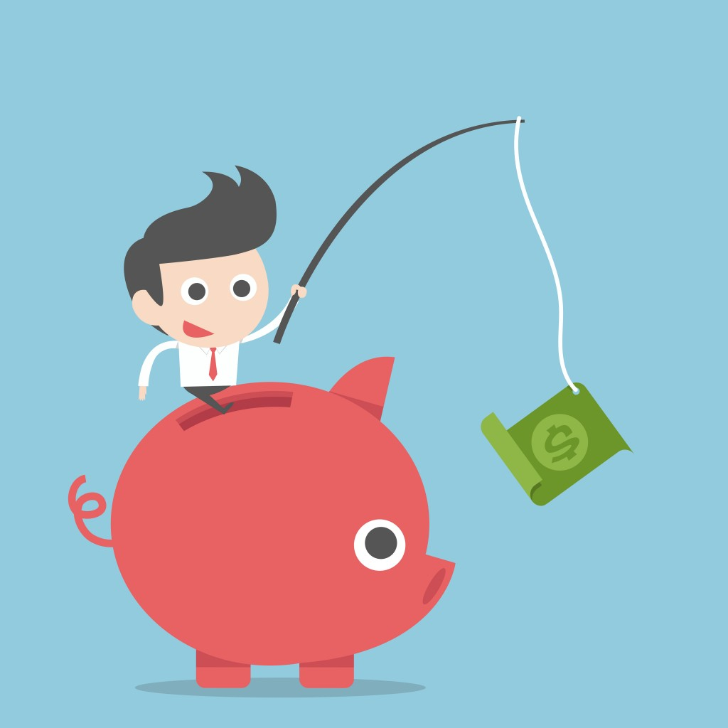 cartoon man on piggy bank reeling in money with a fishing pole