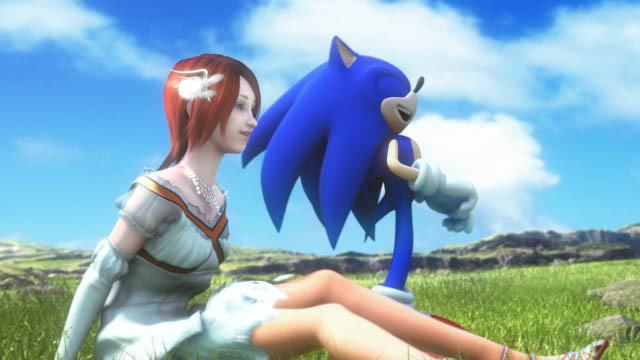 Sonic and his human woman love interest.