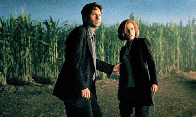 David Duchovny and Gillian Anderson stand next to each other in fear in front of a corn field