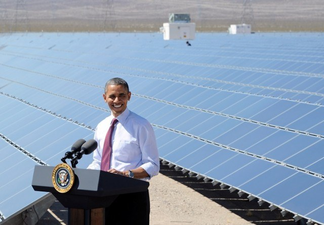President Barack Obama speaks at a solar energy facility - Ethan Miller/Getty Images