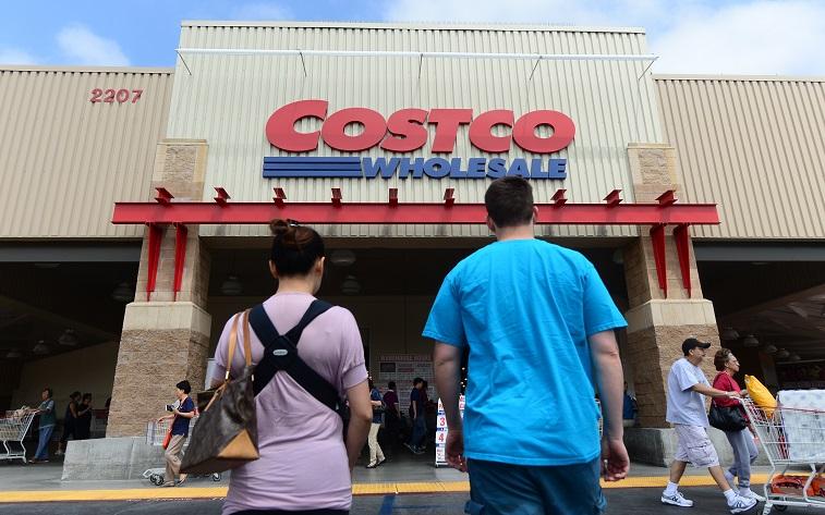 couple entering a costco store