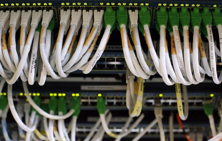 Telecom network cables are pictured