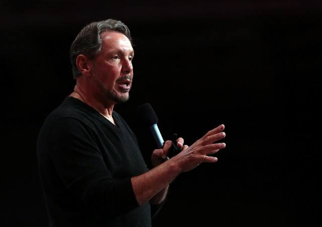 Oracle CEO Larry Ellison delivers a keynote address - Justin Sullivan/Getty Images