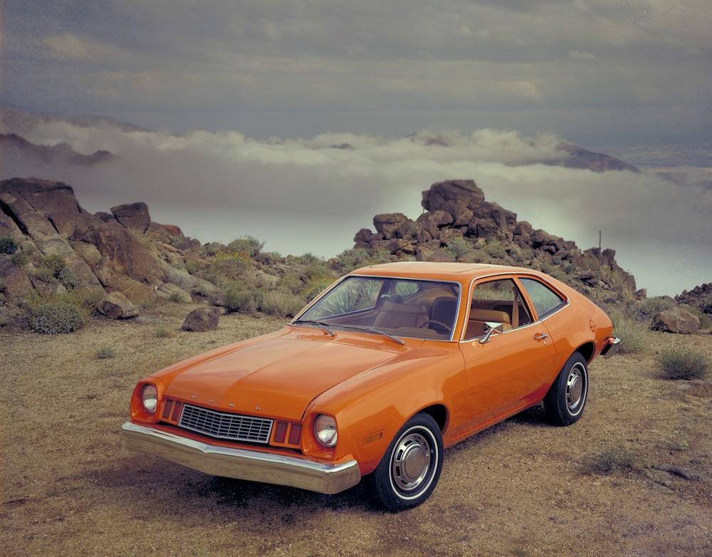 Promo shot of orange '77 Pinto
