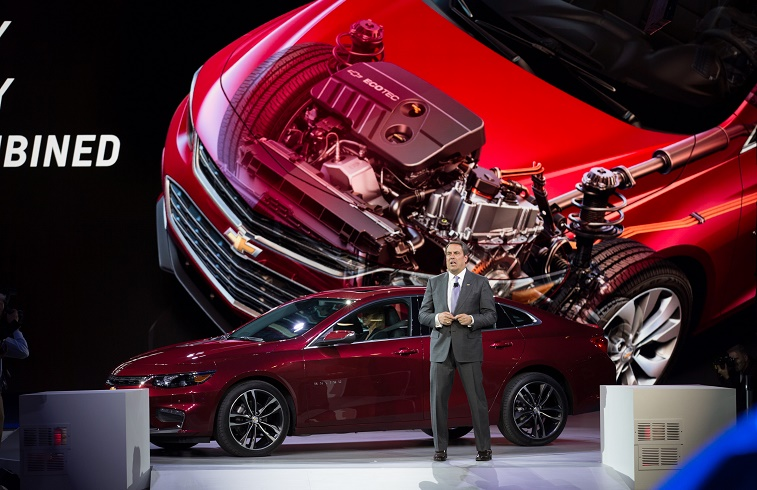 NEW YORK, NY - APRIL 1: GM Executive Vice President of Global Product Development Mark Reuss introduces the new Malibu and hybrid Malibu models at the New York International Auto Show at the Javits Center on April 1, 2015 in New York City.