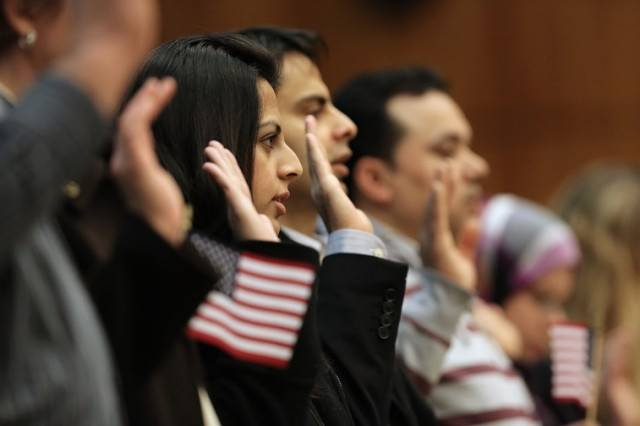 Immigrants getting U.S. citizenship