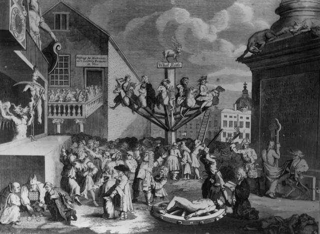 A satirical engraving, by William Hogarth, depicting the South Sea Bubble, a financial scandal involving the East India Company and the Bank of England - Source: Edward Gooch/Stringer/Getty Images