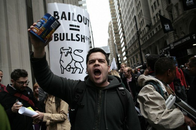 Demonstrators protest the Wall Street bail-out - Nicholas Roberts/AFP/Getty Images)