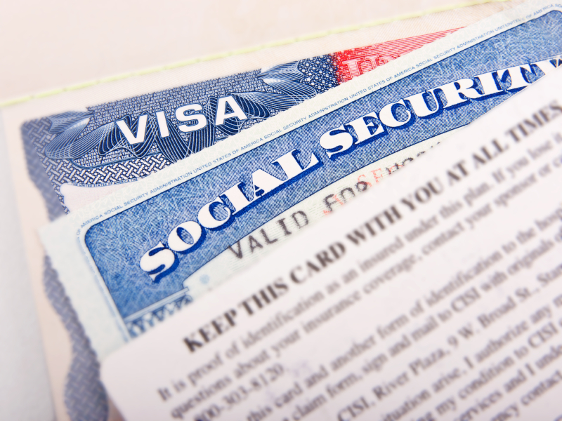 visa and social security card