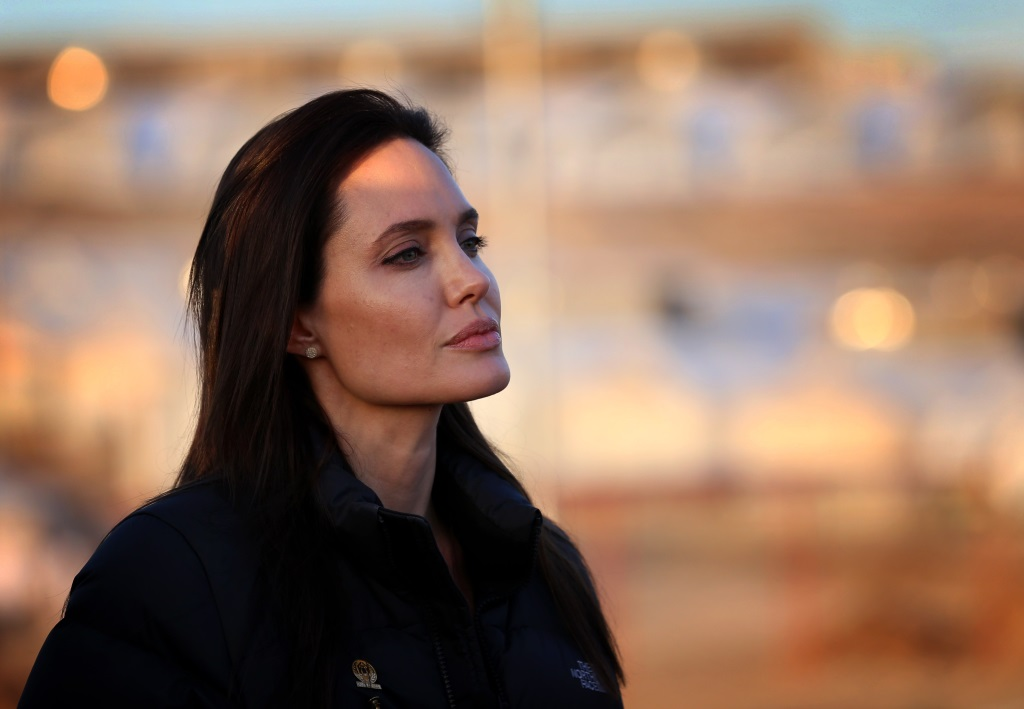 Angelina Jolie looks straight ahead