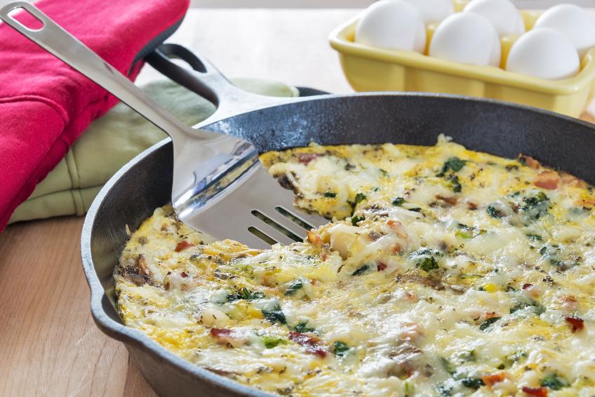 Broccoli, bacon, spinach and mushroom frittata
