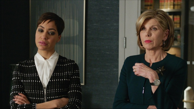 Christine Baranski sits alongside Cush Jumbo in a scene from CBS's The Good Fight