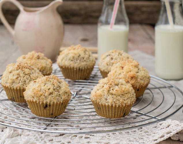 Chocolate chip muffins with coconut streusel