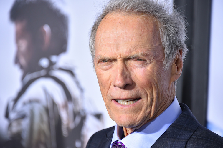 Clint Eastwood glares at the camera. He put that glare to good use in several of his movies.