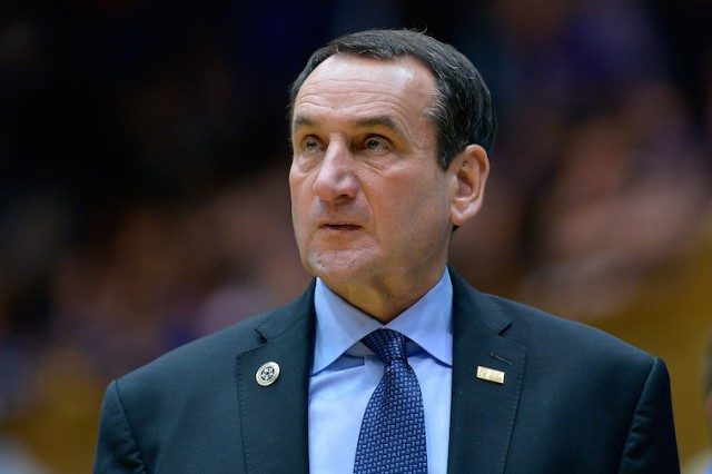 Head coach Mike Krzyzewski of the Duke Blue Devils watches his team play