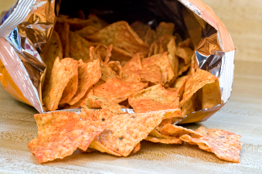 Chips coming out of a bag