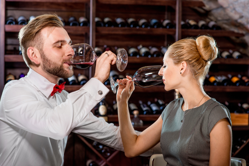 couple trying wine
