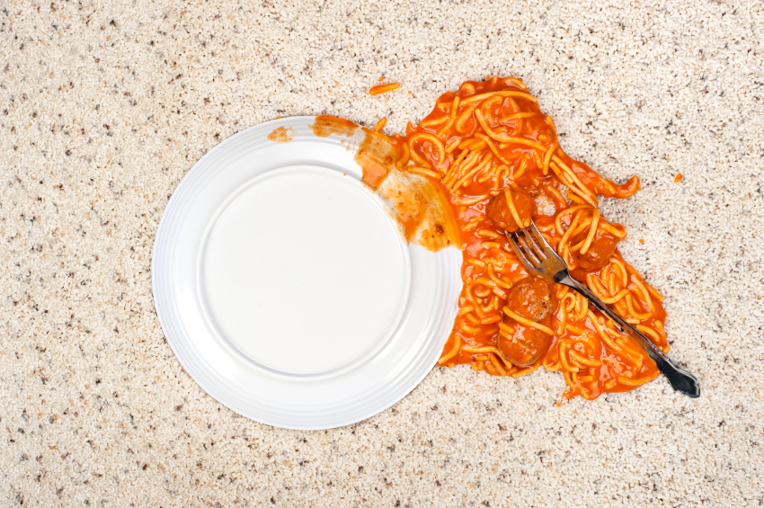 Spaghetti on floor