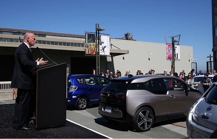 California Governor Jerry Brown speaks about the state's electric vehicle policies
