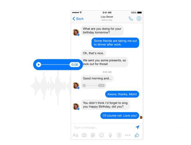 Facebook Messenger voice messages
