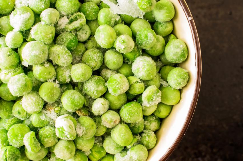 frozen peas in a bowl