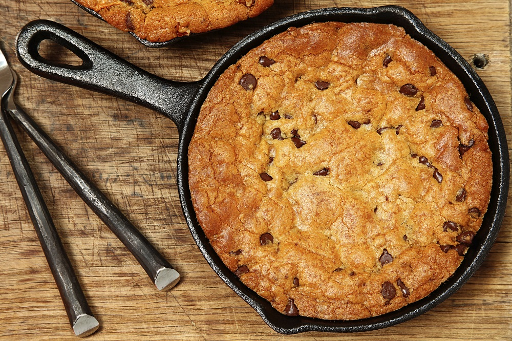 Chocolate chip cookie in a skillet