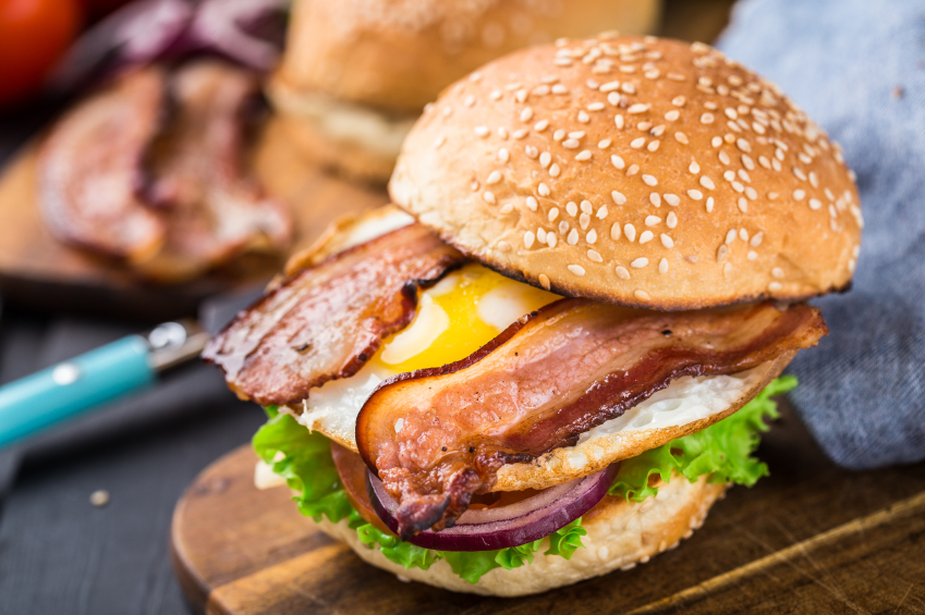 Burger with bacon and eggs