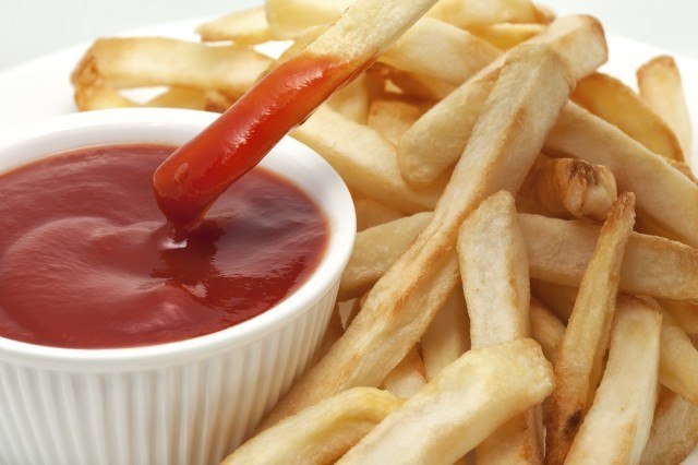 Ketchup with fries
