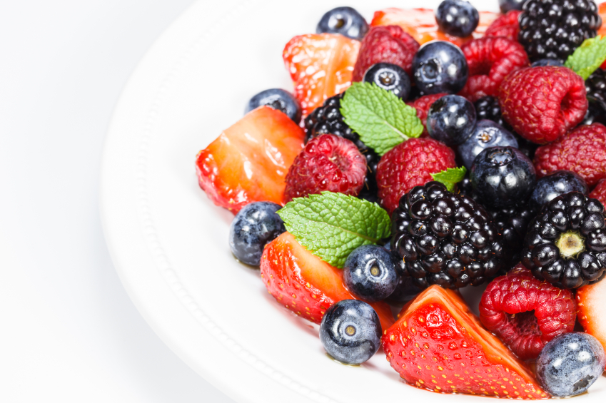 fruit salad with mint leaves